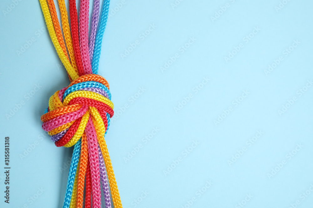 Fototapeta Top view of colorful ropes tied together on light blue background, space for text. Unity concept