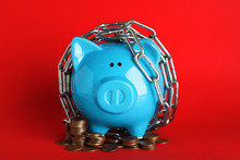Piggy Bank  With Steel Chain A...