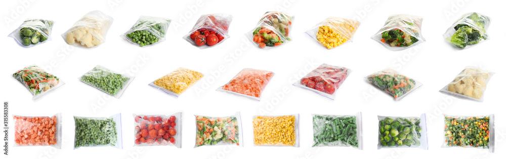 Fototapeta Set of different frozen vegetables in plastic bags on white background