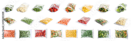 fototapeta na ścianę Set of different frozen vegetables in plastic bags on white background