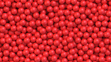 Red Balls Background. Pile Of Red Toy Balls. Realistic Vector Background