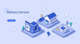 Online Delivery Service Web Banner Template. Order Online with Mobile App, Track Shipment, Receive Parcel Box. Delivery Service and Smart Logistic Concept. Flat Isometric Vector Illustration.