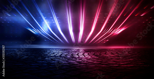 Fototapeta Empty dark abstract background. Empty street background. Glow of neon lights on an empty road. Night view of the city obraz