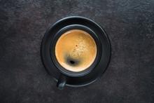 Espresso Coffee On A Black Cup