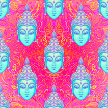 Sitting Buddha Over Colorful N...