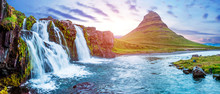 Beautiful Magical Scenery With A Waterfall Kirkjufell Near The Volcano In Iceland At Sunset. Exotic Countries. Amazing Places. Popular Tourist Atraction. (Meditation, Antistress - Concept).