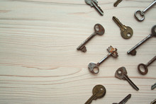 Top View Of Many Old Rusty Key...