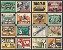 Hunting Wild Animals, Equipment And Ammunition. Vector Trap And Binoculars, Bandoleer, Crossbow And Horn, Elephant, Lion And Zebra, Bear, Buffalo And Rabbit, Ducks And Blackcock Fowl