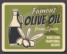Extra Virgin Spanish Olive Oil Bottle, Tree And Glass Jar Vector Retro Poster. Spain Organic Food Products And Quality Traditional Cooking Recipe, Green Olives Natural Food