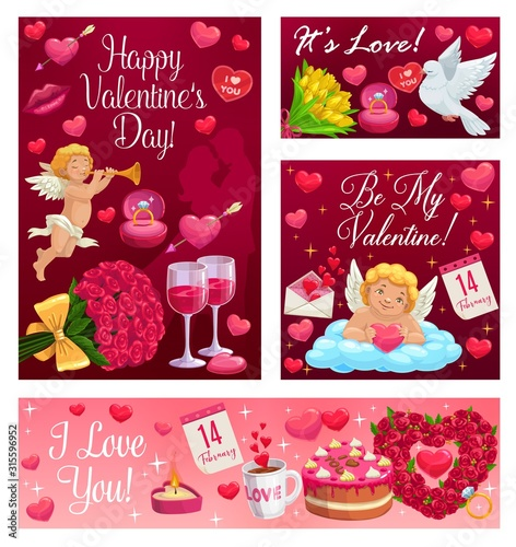 Obraz Happy Valentines day calligraphy wishes, I love you and Be my Valentine. Vector cupid angel in cloud with heart and arrow, 14 February pink roses, lip kiss and wine, wedding cake and ring - fototapety do salonu