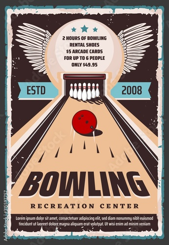 Bowling center retro grunge poster, sport club and leisure games recreation center Wallpaper Mural
