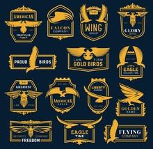 Heraldic Golden Eagle And Hawk...