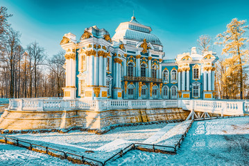 Hermitage Pavilion in Tsarskoye Selo (Pushkin) suburb of Saint Petersburg. Russia.
