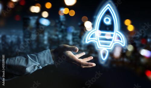 Cuadros en Lienzo Man hand using startup digital neon interface 3D rendering
