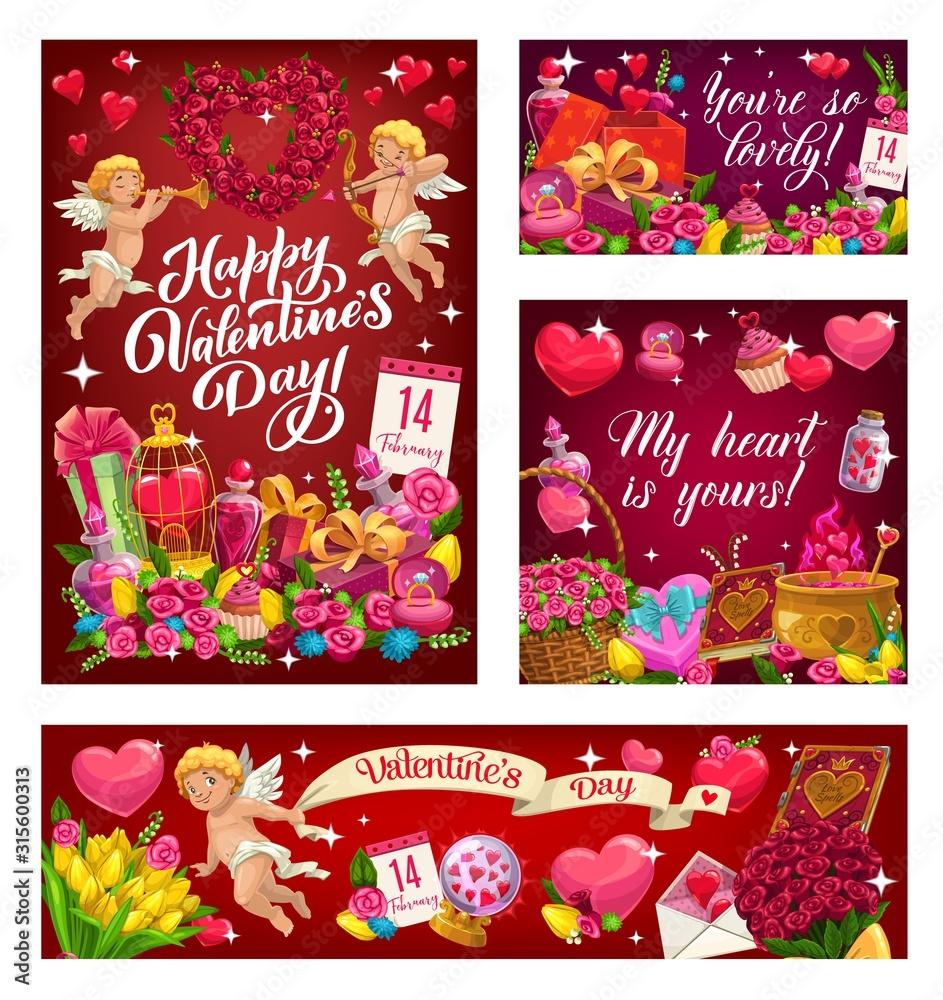 Fototapeta Valentines day greetings, my heart is yours and you are so lovely. Vector angel with wings, curled cupid and holiday of love symbols. Heart shape wreath of flowers, crystal ball, cupcakes and elixir