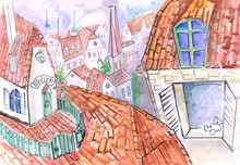 Roof Watercolor Sketch For Chi...