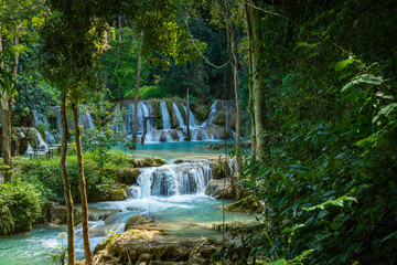 Panel Szklany Wodospad Tad Sae Waterfall in Luang prabang province, Laos