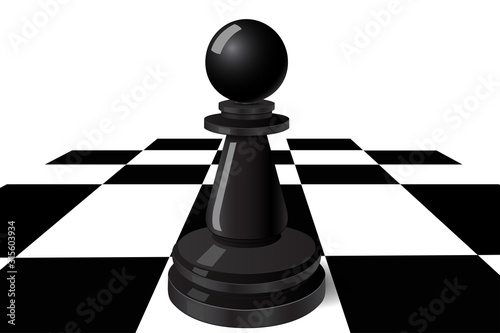 Fototapeta Black pawn on a chess board