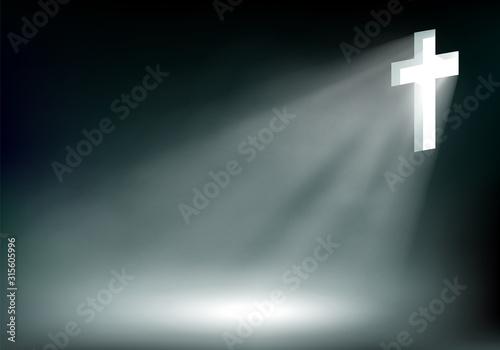 Shining cross of Jesus Christ on a dark background Canvas Print