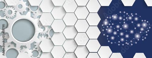 Obraz White Hexagon Structure Gears Cloud Header - fototapety do salonu