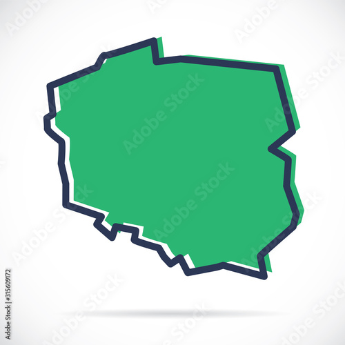 Fototapeta Stylized simple outline map of Poland obraz