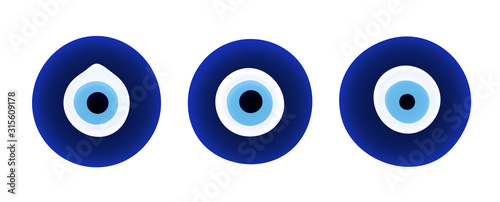 Set of evil eye protection signs. Canvas Print