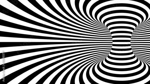 Black and white twisted curved lines forming torus horizontal background, optical illusion. 3d render illustration