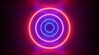 canvas print picture - Glowing neon red purple circles rings lines with reflections on ground, lights, abstract vintage background, ultraviolet, spectrum vibrant colors, laser show. 3d render illustration