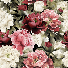 Fototapeta Róże Seamless floral pattern with peonies, watercolor.