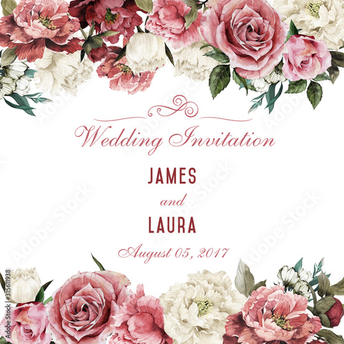 Greeting card with flowers, watercolor, can be used as invitation card for wedding, birthday and other holiday and  summer background Canvas-taulu