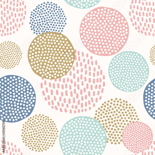 Scandinavian seamless pattern with colorful dotted circles on white background
