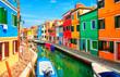 Leinwanddruck Bild - Colorful houses in Burano island near Venice, Italy.
