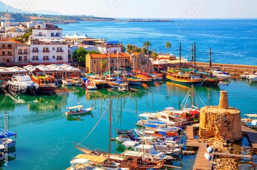 Stampa su Tela Kyrenia (Girne) old harbour on the northern coast of Cyprus.