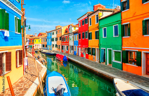 Colorful houses in Burano island near Venice, Italy. Wallpaper Mural