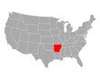 Karte von Arkansas in USA