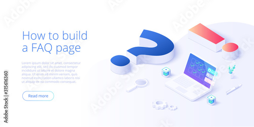 Fototapeta FAQ concept in isometric vector illustration. Frequently asked questions background with question and exclamation marks and laptop. Web banner layout template. obraz