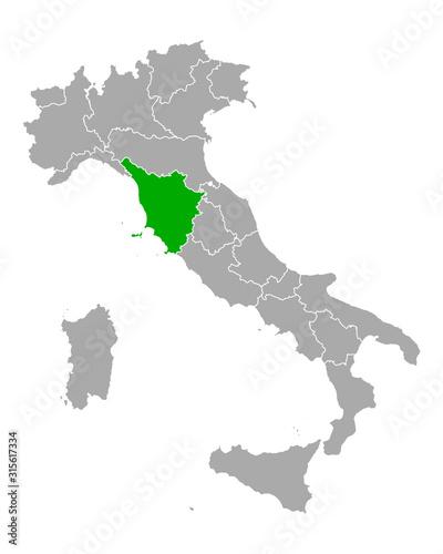 Karte von Toskana in Italien Fototapete