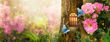 Enchanted Fairy Tale Forest With Magical Shining Window In Hollow Of Fantasy Pine Tree Elf House, Blooming Fabulous Giant Pink Rose Flower Garden, Flying Magic Blue Peacock Eye Butterfly, Copy Space