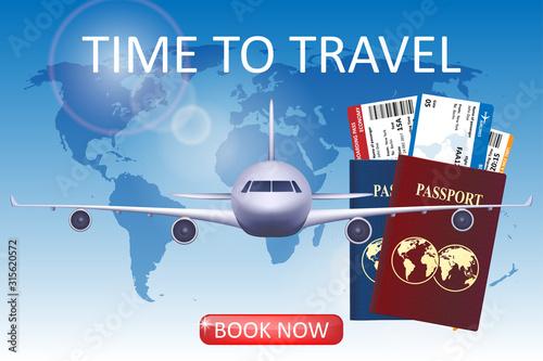Fototapeta Air travel illustration with airplane