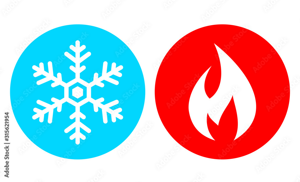 Fototapeta Cold and hot vector icon set
