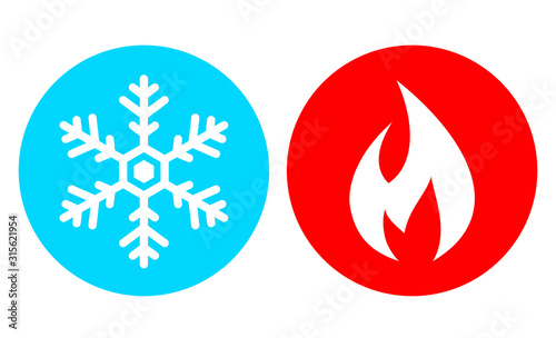 Fototapeta Cold and hot vector icon set obraz