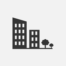 Buildings And Trees Icon Hushi...