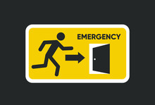 Emergency Fire Exit Sign. Man Figure Running To Doorway. Running Man Icon To Door. Fire Exit Sign.