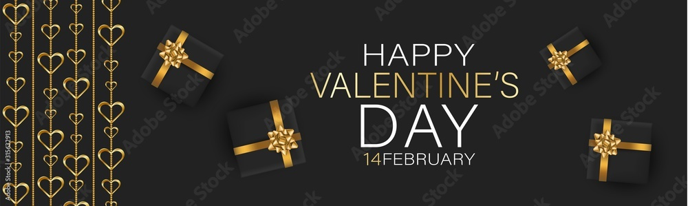 Fototapeta Valentines Day banner background or website header with hanging golden 3d hearts and gift boxes with red bow and ribbon. Love design concept. Romantic invitation or sale offer promo.