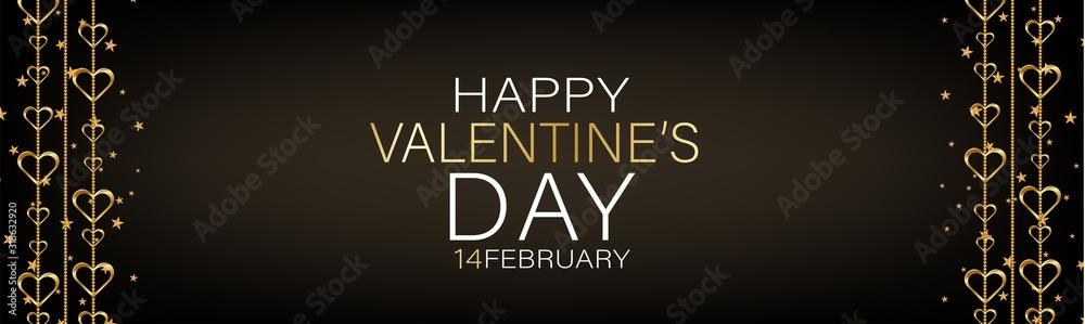 Fototapeta Valentines Day banner background or website header with hanging golden 3d hearts. Love design concept. Romantic invitation or sale offer promo. Vector illustration.