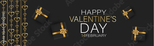 Fototapeta Valentines Day banner background or website header with hanging golden 3d hearts and gift boxes with red bow and ribbon. Love design concept. Romantic invitation or sale offer promo.  obraz