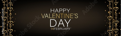 Fototapeta Valentines Day banner background or website header with hanging golden 3d hearts. Love design concept. Romantic invitation or sale offer promo. Vector illustration. obraz