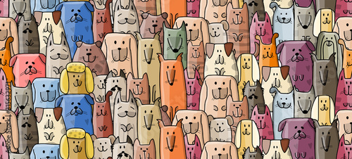 obraz lub plakat Funny dogs family, seamless pattern for your design