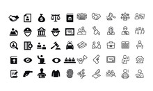 Law And Justice Icons Vector D...