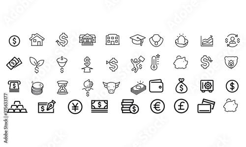 Fototapeta Investing Thin Line Icons vector design black and white  obraz